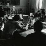 John Barth, at the head of the table, teaches aJohns Hopkins in the 1970s.